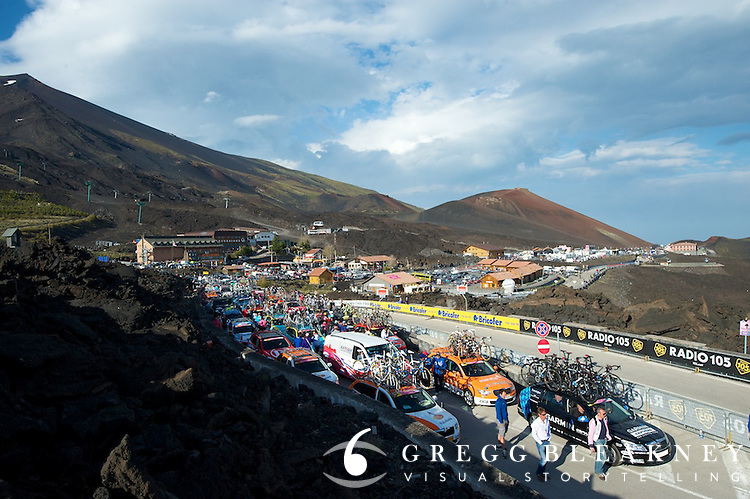 Support vehicles prepare to leave Etna--Stage 9