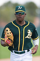 Oakland Athletics outfielder Jameson Hannah (53) jogs off the field between innings of an exhibition game against Team Italy at Lew Wolff Training Complex on October 3, 2018 in Mesa, Arizona. (Zachary Lucy/Four Seam Images)