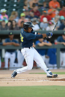 Designated hitter Wagner Lagrange (23) of the Columbia Fireflies bats in a game against the Augusta GreenJackets on Saturday, June 1, 2019, at Segra Park in Columbia, South Carolina. Columbia won, 3-2. (Tom Priddy/Four Seam Images)