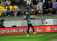 NZ's Mitchell Santner is beaten for a six during the International Twenty20 cricket match between the NZ Black Caps and England at Westpac Stadium in Wellington, New Zealand on Tuesday, 13 February 2018. Photo: Dave Lintott / lintottphoto.co.nz