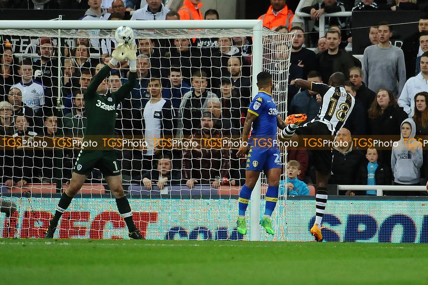Robert Green of Leeds United saves a Massadio Haidara of Newcastle United header during Newcastle United vs Leeds United, Sky Bet EFL Championship Football at St. James' Park on 14th April 2017