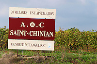 St Chinian. Languedoc. France. Europe. A sign.