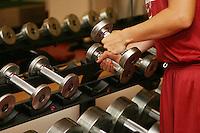 12 October 2005: Players working out in the weight room in Maples Pavilion in Stanford, CA.
