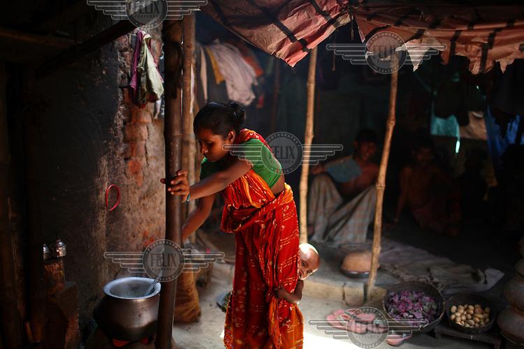 Slum dwellers in Kolkata.