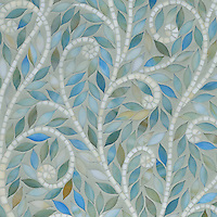 Climbing Vine, a handmade mosaic, is shown Aquamarine and Quartz jewel glass.
