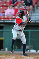 Gwinnett Braves outfielder Luis Durango #30 at bat during a game against the Buffalo Bisons at Coca-Cola Field on May 17, 2012 in Buffalo, New York.  Buffalo defeated Gwinnett 4-2.  (Mike Janes/Four Seam Images)