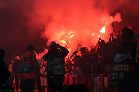 Rennes fans light up the away end with flares during Arsenal vs Rennes, UEFA Europa League Football at the Emirates Stadium on 14th March 2019
