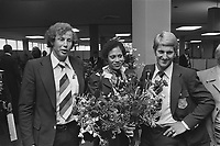 Dutch Olympic Team back from Montreal, the three medalists<br /> Date August 3, 1976<br /> <br /> Photographer Peters, Hans / Anefo