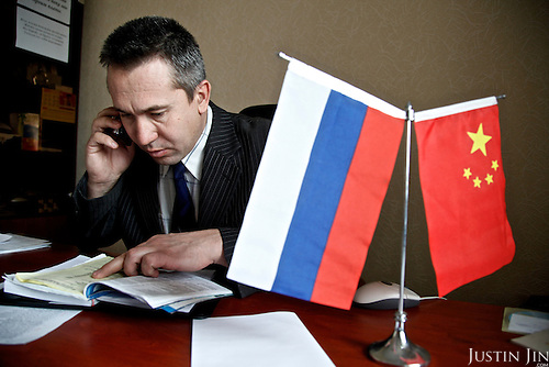 The deputy mayor of Zabaikalsk, a town on the Russian side of the Russian-Chinese border, at work in his office.