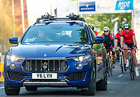 Picture by Allan McKenzie/SWpix.com - 06/05/2018 - Cycling - Maserati Human Race Sportive, Leeds, England - David Miller sets off in a Maserati with riders in tow.