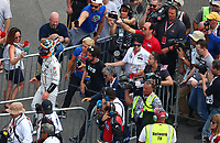 May 28, 2017; Indianapolis, IN, USA; IndyCar Series driver Fernando Alonso walks to the garage after blowing an engine during the 101st Running of the Indianapolis 500 at Indianapolis Motor Speedway. Mandatory Credit: Mark J. Rebilas-USA TODAY Sports