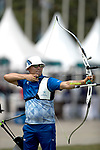 Furukawa Takaharu (JPN)<br /> AUGUST 27, 2018 ? Archery : <br /> Asian games 2018 Jakarta Palembang<br /> Recurve Mixed Team Gold Medal Match, <br /> at The GBK in Jakarta, Indonesia. <br /> (Photo by AFLO)
