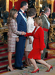 Princess Letizia of Spain, Prince Felipe of Spain, Queen Sofia of Spain, Juan Carlos I King of Spain and Soledad Becerril, Defender of the Spanish People, attend the Royal Palace reception on the National Military Parade.October 12,2012.(ALTERPHOTOS/Pool)