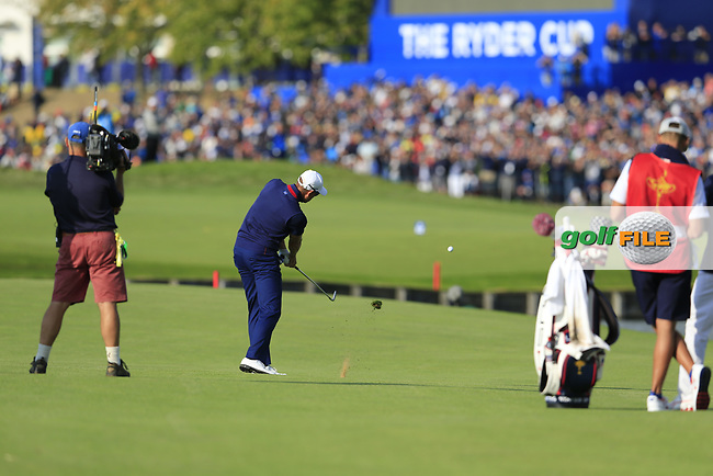 Henrik Stenson Team Europe plays his 2nd shot on the 15th hole during Friday's Foursomes Matches at the 2018 Ryder Cup 2018, Le Golf National, Ile-de-France, France. 28/09/2018.<br /> Picture Eoin Clarke / Golffile.ie<br /> <br /> All photo usage must carry mandatory copyright credit (© Golffile | Eoin Clarke)