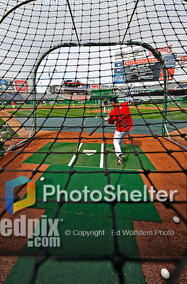29 March 2008: Washington Nationals' first baseman Nick Johnson takes batting practice prior to an exhibition game against the Baltimore Orioles at Nationals Park, in Washington, DC. The matchup was the first professional game played in the new ballpark, prior to the upcoming official opening day inaugural game. The Nationals defeated the Orioles 3-0...Mandatory Photo Credit: Ed Wolfstein Photo