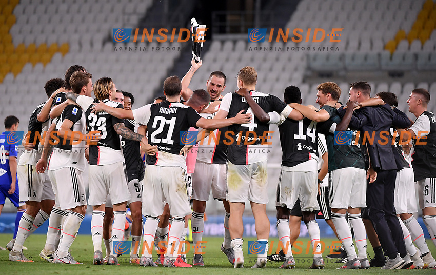 Juventus players celebrate at the end of the Serie A football match between Juventus FC and UC Sampdoria at Juventus stadium in Turin (Italy), July 26th, 2020. Juventus has won its ninth consecutive championship.<br /> Photo Federico Tardito / Insidefoto
