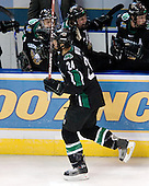 Chris Porter (University of North Dakota - Thunder Bay, ON) celebrates his goal (Kozek, Oshie, Toews). The Boston College Eagles defeated the University of North Dakota Fighting Sioux 6-4 in their 2007 Frozen Four semi-final on Thursday, April 5, 2007, at the Scottrade Center in St. Louis, Missouri.