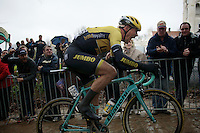 Maarten Tjallingii (NLD/LottoNL-Jumbo) attacking the Kemmelberg as race leader while yelling himself over the cobbled climb<br /> <br /> 77th Gent-Wevelgem 2015