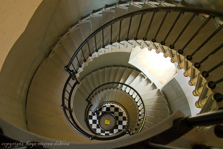 Ponce DeLeon Lighthouse stairs one of Florida Lighthouses that operate with Fresnel lens.