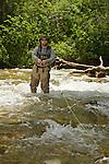 Man fly fishing along the Rio Hondo near Taos, New Mexico