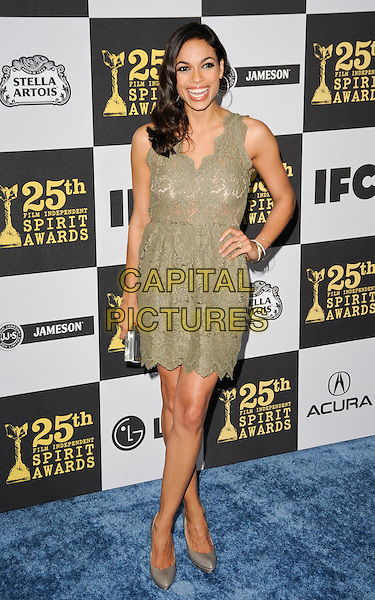 ROSARIO DAWSON.The 25th Annual Film Independent Spirit Awards at the LA Live Event Deck in Los Angeles, California, USA..March 5th, 2010  .full length green dress lace sleeveless hand on hip clutch bag smiling grey gray shoes .CAP/ROT.©Lee Roth/Capital Pictures