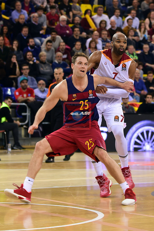 Turkish Airlines Euroleague 2016/2017.<br /> Regular Season - Round 22.<br /> FC Barcelona Lassa vs Galatasaray Odeabank Istanbul: 62-69.<br /> Petteri Koponen vs Alex Tyus.