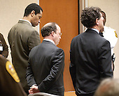 Convicted sniper John Allen Muhammad, left, stands with his defense attorneys Peter Greenspun, and Jonathan Shapiro, right,as the jury recommendation of death is read in courtroom 10 at the Virginia Beach Circuit Court in Virginia Beach, Virginia on Monday November 24, 2003. <br /> Credit: Davis Turner - Pool via CNP