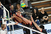 20th March 2018, PalaTrento, Trento, Italy; CEV Volleyball Champions League, playoffs, 1st leg; Trentino Diatec versus Chaumont VB 52 Haute Marne; 2 Kovacevic Uros SRB, 3 Daniel Jansen Vandoorn CAN, 4 Javier Gonzalez CUB defend the net