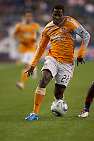 Houston Dynamo midfielder Lovel Palmer (22) cuts. The New England Revolution defeated Houston Dynamo, 1-0, at Gillette Stadium on August 14, 2010.