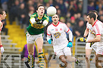David Moran, Kerry in action against Gary Fox Tyrone in the fourth round of the National Football league at Fitzgerald Stadium, Killarney on Sunday.