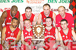 Tralee Tigers celebrate after defeating St Pauls in the Premier Mens Final at the St Marys Christmas Basketball Blitz which was held in the Castleisland Community Centre on Saturday front row L/R: Dave Fanning, Liam ODowd, Liam Culloty, Kevin ODonoghue, Back Row: Wilder Auguste, James Mooney, John Teahan, ****.