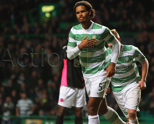 03.12.2014.  Glasgow, Scotland. Scottish Premier League.  Celtic versus Partick Thistle. Virgil van Dijk celebrates the only goal of the game