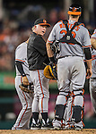 25 August 2016: Baltimore Orioles Manager Buck Showalter visits the mound for a pitching change during a game against the Washington Nationals at Nationals Park in Washington, DC. The Nationals blanked the Orioles 4-0 to salvage one game of their 4-game home and away series. Mandatory Credit: Ed Wolfstein Photo *** RAW (NEF) Image File Available ***