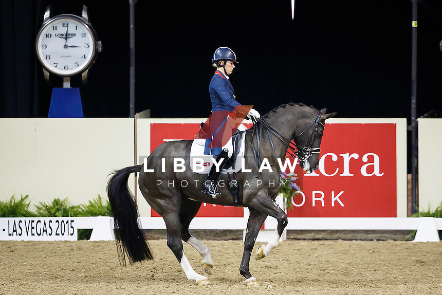 2015 CHAMPION: REEM ACRA FEI World Cup Dressage: GBR-Charlotte Dujardin (VALEGRO) 2015 FEI World Cup Finals at the Thomas and Mack Centre, Las Vegas, Nevada, USA (Saturday 18 April) CREDIT: Libby Law COPYRIGHT: LIBBY LAW PHOTOGRAPHY