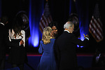 President Barack Obama with his daughter Malia, Jill Biden, First Lady Michelle Obama and Vice-President Joe Biden after Obama gave his farewell address to a crowd of thousands and the nation during his farewell address at McCormick Place in Chicago, Illinois on January 10, 2017.