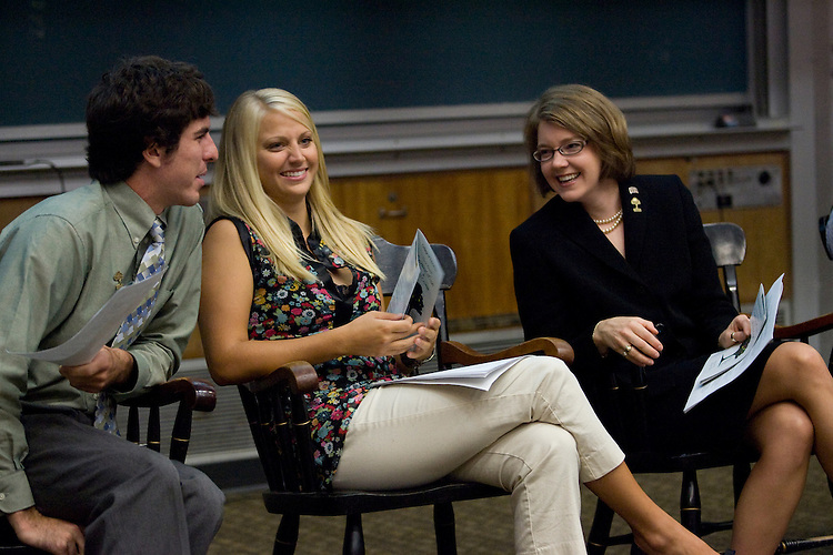 Education student and Ambassador Parker Fernandez, left, chats with Education student and Founder of the Honors Track Michelle Connavino, center, and Associate Dean for Outreach and Undergraduate Studies Linda J. Rice before the College of Education Third Annual Convocation and Welcome held in Morton Hall.  Photo By: Joshua Armstrong
