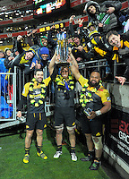 Jimmy Marshall, Brad Shields and Loni Uhila pose with fans after the Super Rugby final match between the Hurricanes and Lions at Westpac Stadium, Wellington, New Zealand on Saturday, 6 August 2016. Photo: Dave Lintott / lintottphoto.co.nz