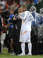 Los Angeles Galaxy midfielder David Beckham (23) talks to head coach Frank Yallop before entering the game. DC United defeated the Los Angeles Galaxy 1-0,  at RFK Stadium Washington DC, Thursday  9, 2007.