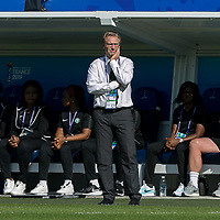GRENOBLE, FRANCE - JUNE 22: Thomas Dennerby coach of the Nigerian National Team during a game between Nigeria and Germany at Stade des Alpes on June 22, 2019 in Grenoble, France.