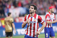 Atletico de Madrid´s Raul Garcia celebrates a goal during 16th Champions League soccer match at Vicente Calderon stadium in Madrid, Spain. March 11, 2014. (ALTERPHOTOS/Victor Blanco)