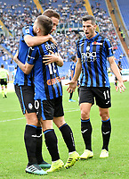 Alejandro Papu Gomez of Atalanta BC celebrates with Robin Gosens and Remo Freuler after scoring the goal of 0-3 for his side<br /> Roma 19-10-2019 Stadio Olimpico <br /> Football Serie A 2019/2020 <br /> SS Lazio - Atalanta<br /> Foto Andrea Staccioli / Insidefoto