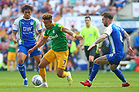 Preston North End's Callum Robinson gets between Wigan Athletic's Reece James & Danny Fox<br /> <br /> Photographer David Shipman/CameraSport<br /> <br /> The EFL Sky Bet Championship - Wigan Athletic v Preston North End - Monday 22nd April 2019 - DW Stadium - Wigan<br /> <br /> World Copyright © 2019 CameraSport. All rights reserved. 43 Linden Ave. Countesthorpe. Leicester. England. LE8 5PG - Tel: +44 (0) 116 277 4147 - admin@camerasport.com - www.camerasport.com