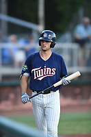 Elizabethton Twins Matt Wallner (48) on deck during a game against the Kingsport Mets at Northeast Community Credit Union Ballpark on July 5, 2019 in Elizabethton, Tennessee. The Twins defeated the Mets 7-1. (Tracy Proffitt/Four Seam Images)