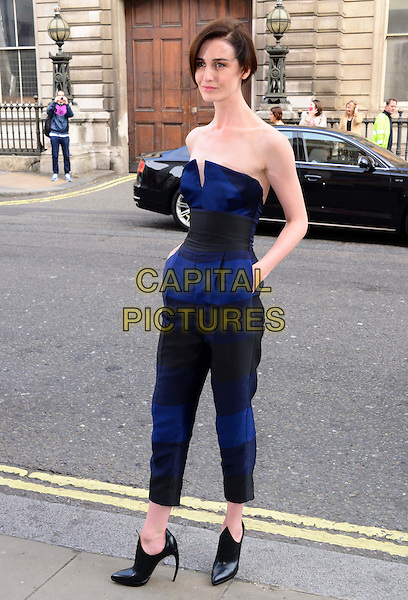 Erin O'Connor<br /> The Face TV press launch, Royal Opera House, Covent Garden, London, England.<br /> September 26th, 2013<br /> full length blue black  strapless hands in pockets jumpsuit<br /> CAP/BF<br /> &copy;Bob Fidgeon/Capital Pictures