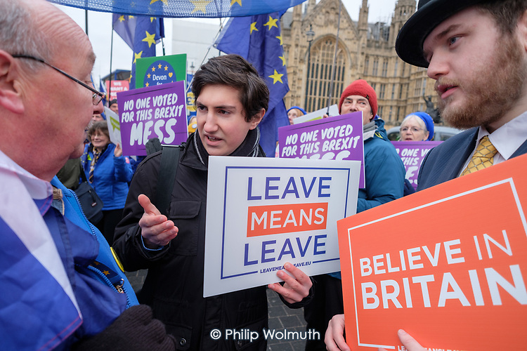 Leave Means Leave.   Believe in Britain.  Brexit supporters demonstrate outside the Houses of Parliament as MPs vote on amendments to Theresa May's withdrawal deal with the EU.  Westminster, London.
