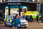 © Joel Goodman - 07973 332324 . 07/04/2017 . Manchester , UK . Police and paramedic vehicles on Market Street . Greater Manchester Police have authorised dispersal powers and say they will ban people from the city centre for 48 hours , this evening (7th April 2017) , in order to tackle alcohol and spice abuse . Photo credit : Joel Goodman