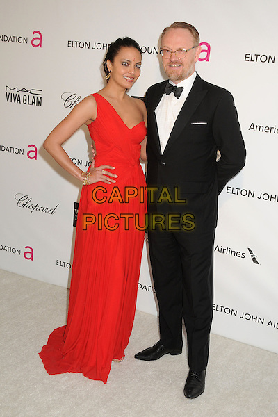 Allegra Riggio, Jared Harris.21st Annual Elton John Academy Awards Viewing Party held at West Hollywood Park, West Hollywood, California, USA..February 24th, 2013.oscars full length red one shoulder dress hand on hip white shirt black bow tie tuxedo couple glasses beard facial hair .CAP/ADM/BP.©Byron Purvis/AdMedia/Capital Pictures.