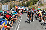 Team Sky climbing during Stage 15 of the 2017 La Vuelta, running 129.4km from Alcal&aacute; la Real to Sierra Nevada. Alto Hoya de la Mora. Monachil, Spain. 3rd September 2017.<br /> Picture: Unipublic/&copy;photogomezsport | Cyclefile<br /> <br /> <br /> All photos usage must carry mandatory copyright credit (&copy; Cyclefile | Unipublic/&copy;photogomezsport)