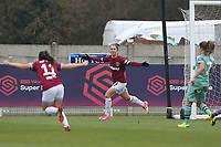 Jane Ross of West Ham scores the first goal for his team and celebrates during West Ham United Women vs Arsenal Women, FA Women's Super League Football at Rush Green Stadium on 6th January 2019
