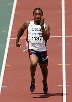J-Mee Samuels ran 10.39sec. in the 1st. round of the 100m dash at the 11th. IAAF World Championships in Osaka, Japan on Saturday, August 25, 2007. Photo by Errol Anderson, The Sporting Image.